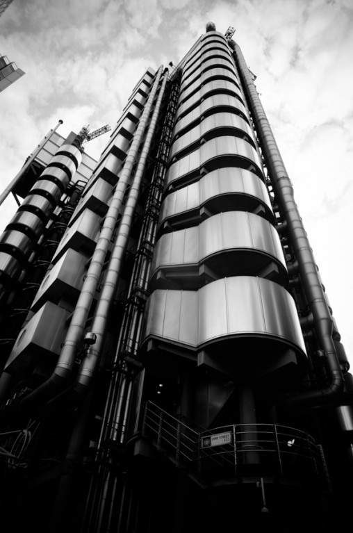 black and white, inside-out building, Lloyd's building, london