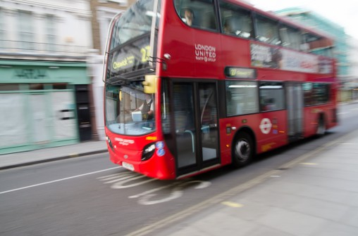 bus, london, motion blur