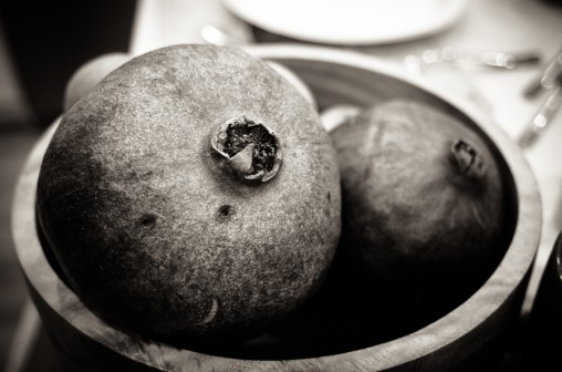 black and white, pomegranate