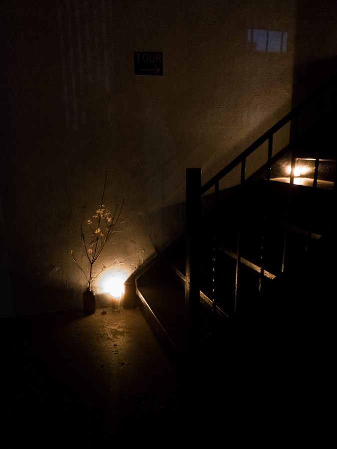candle, flowers, stairs
